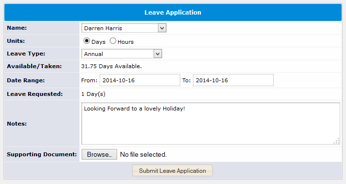 Human Resource Systems Leave Management Software – Leave Application Format for Office
